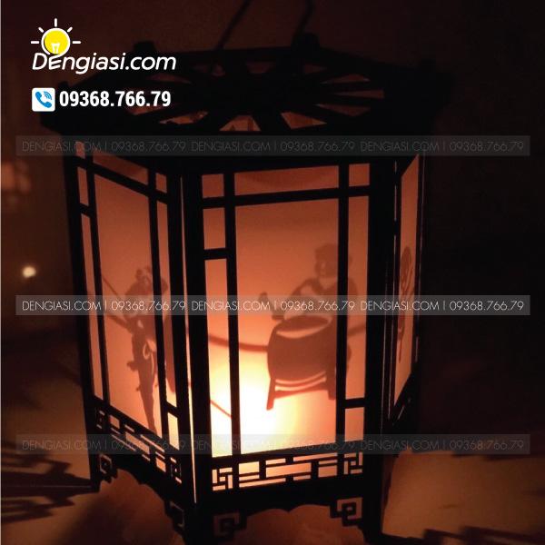 Đèn lục giác gỗ 01